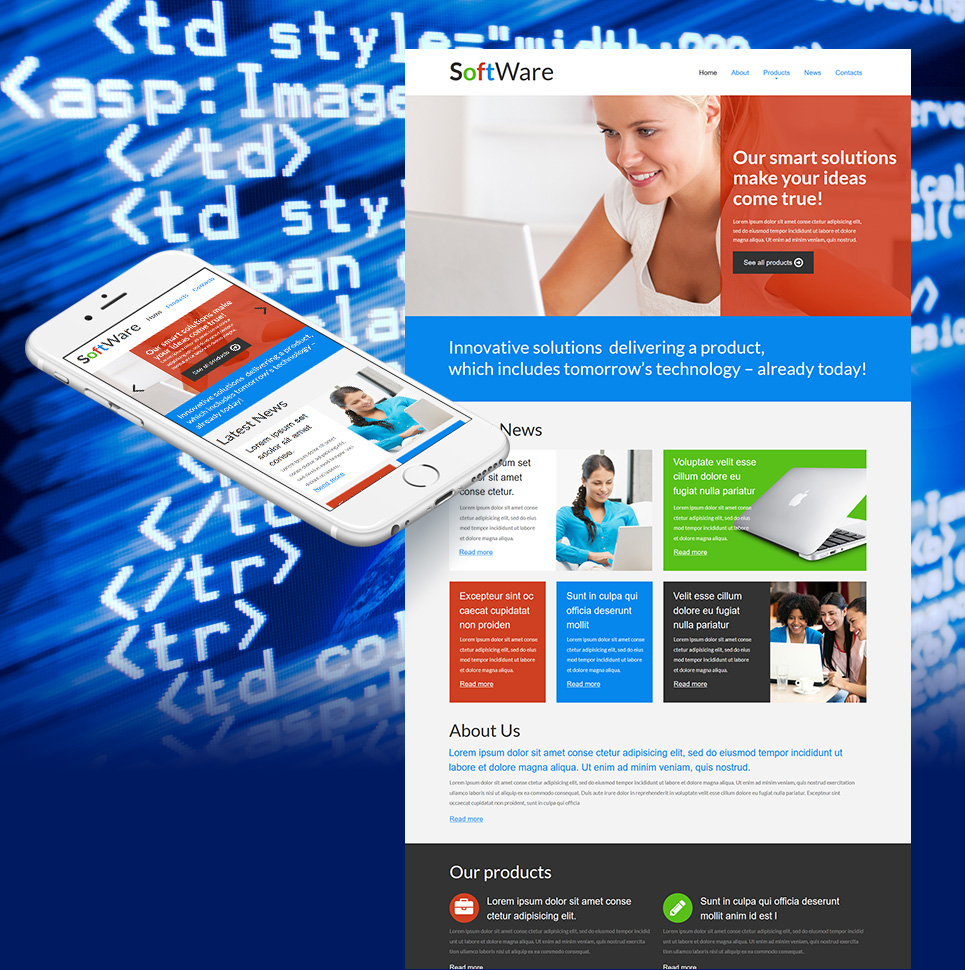 Software Company Website Template with a jQuery Slider - image