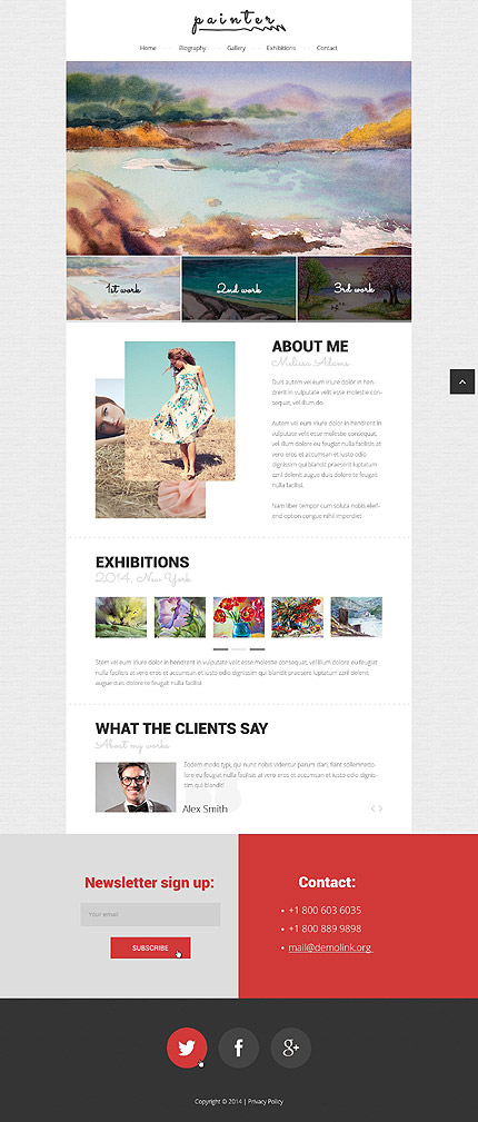 Template #52234 Painter Page Responsive Template - Desktop Layout