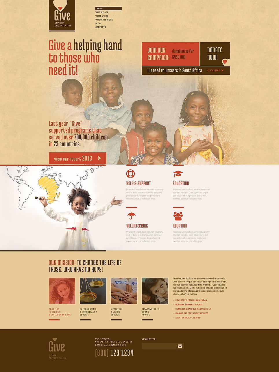 Адаптивный шаблон сайта на тему детская благотворительность #52265