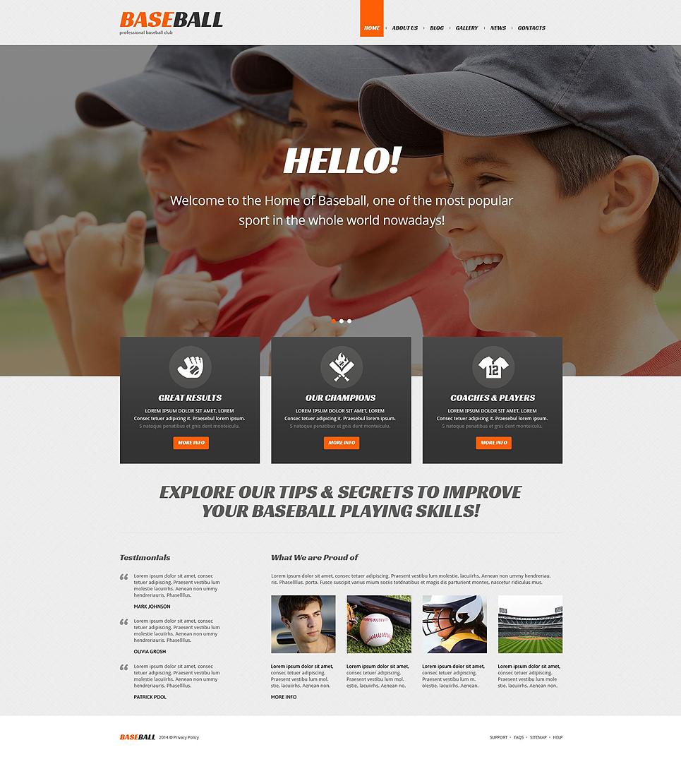 Адаптивный шаблон сайта на тему бейсбол #52269