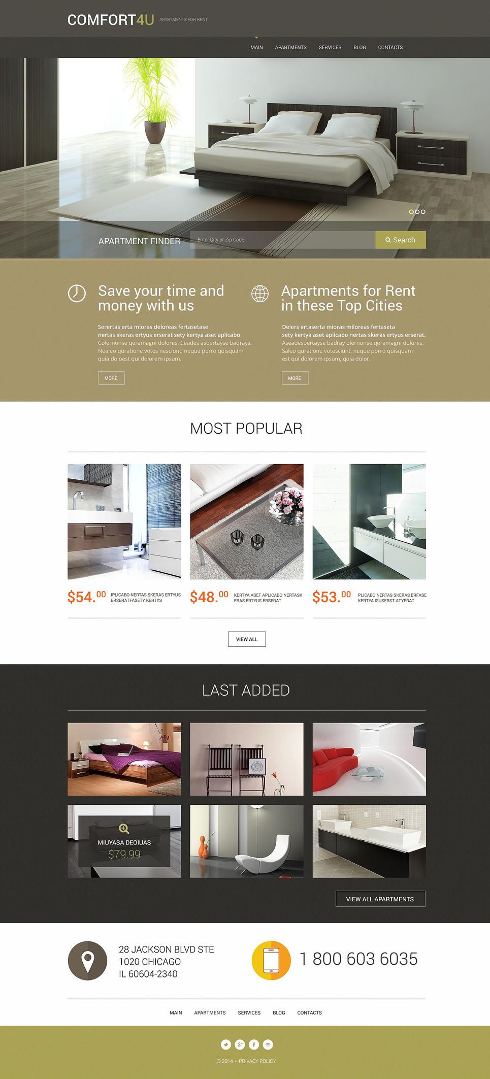 Адаптивный шаблон сайта на тему агентство недвижимости #52294