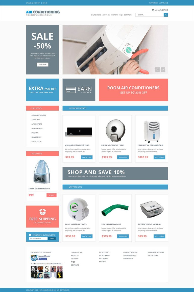 Air Conditioning Responsive VirtueMart Template New Screenshots BIG