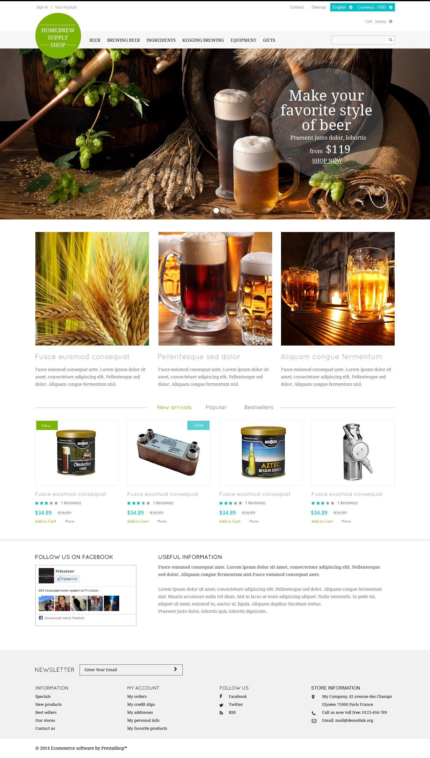 Brewery Responsive PrestaShop Theme - screenshot
