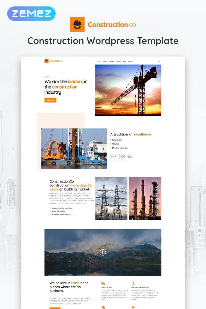 """Construction Business"" 响应式WordPress模板 #52266 - 截图"