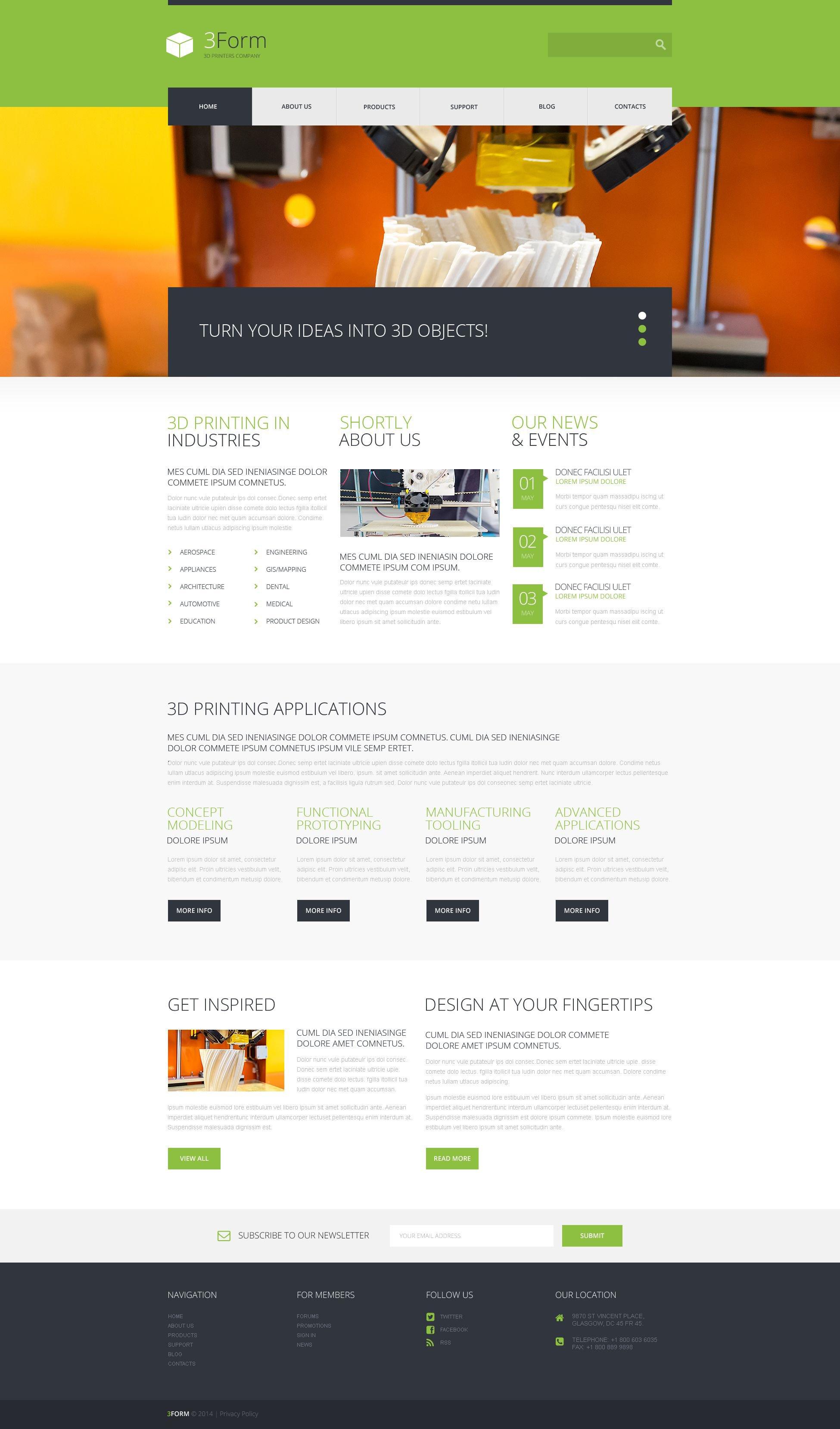 """""""3D Printing Technologies"""" - адаптивний WordPress шаблон №52268 - скріншот"""