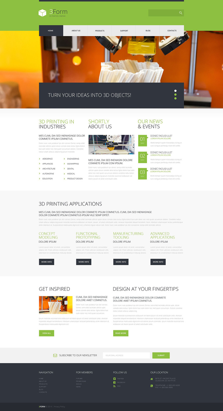 3D Printing Technologies WordPress Theme New Screenshots BIG