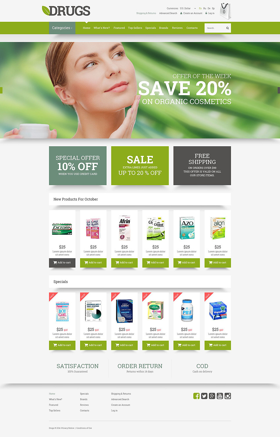 Drugs Store OsCommerce Template New Screenshots BIG