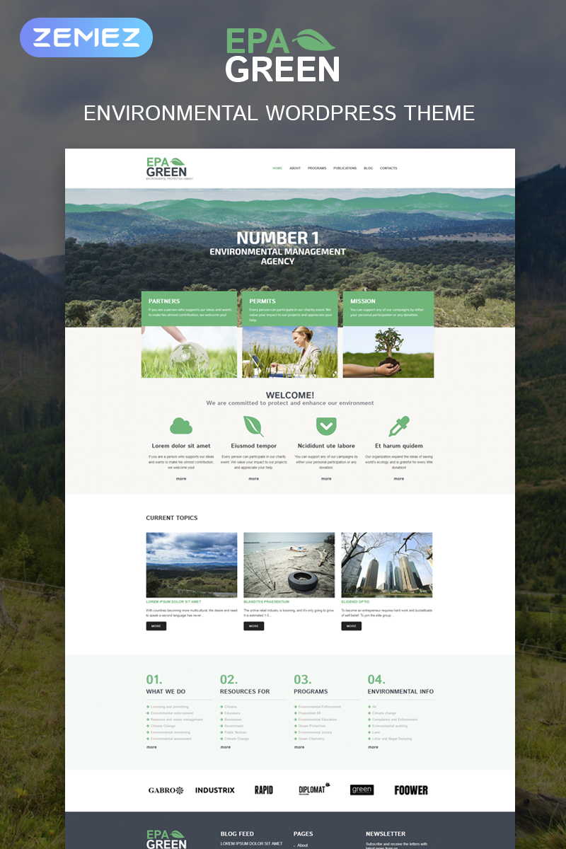 Environmental protection agency wordpress theme for Environmental protection plan template