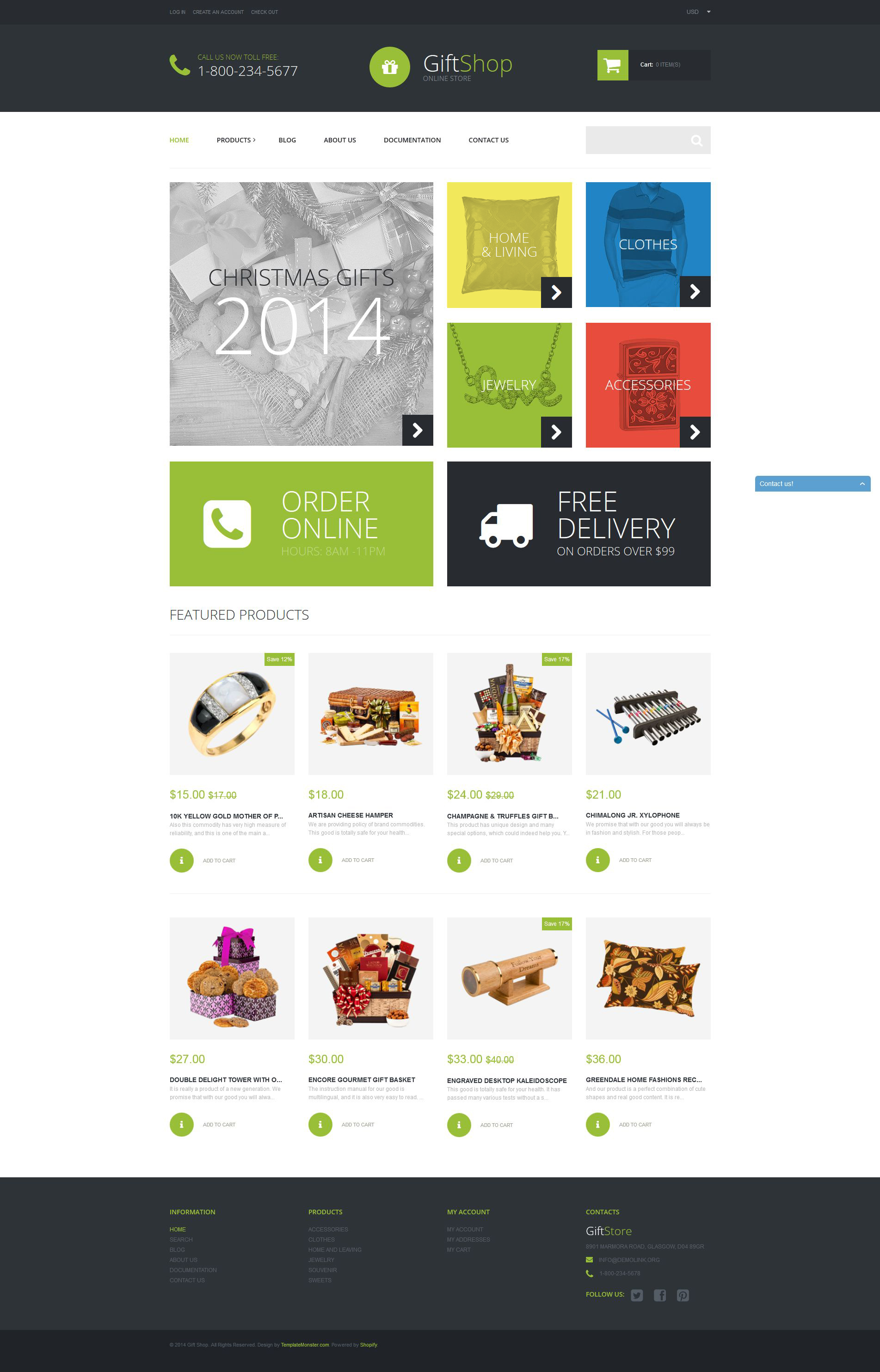 """Gift Shop"" Responsive Shopify Thema №52257"