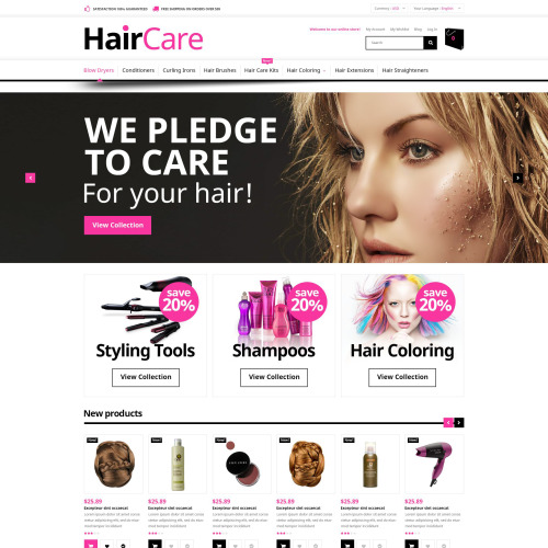 Hair Care - Magento Template based on Bootstrap