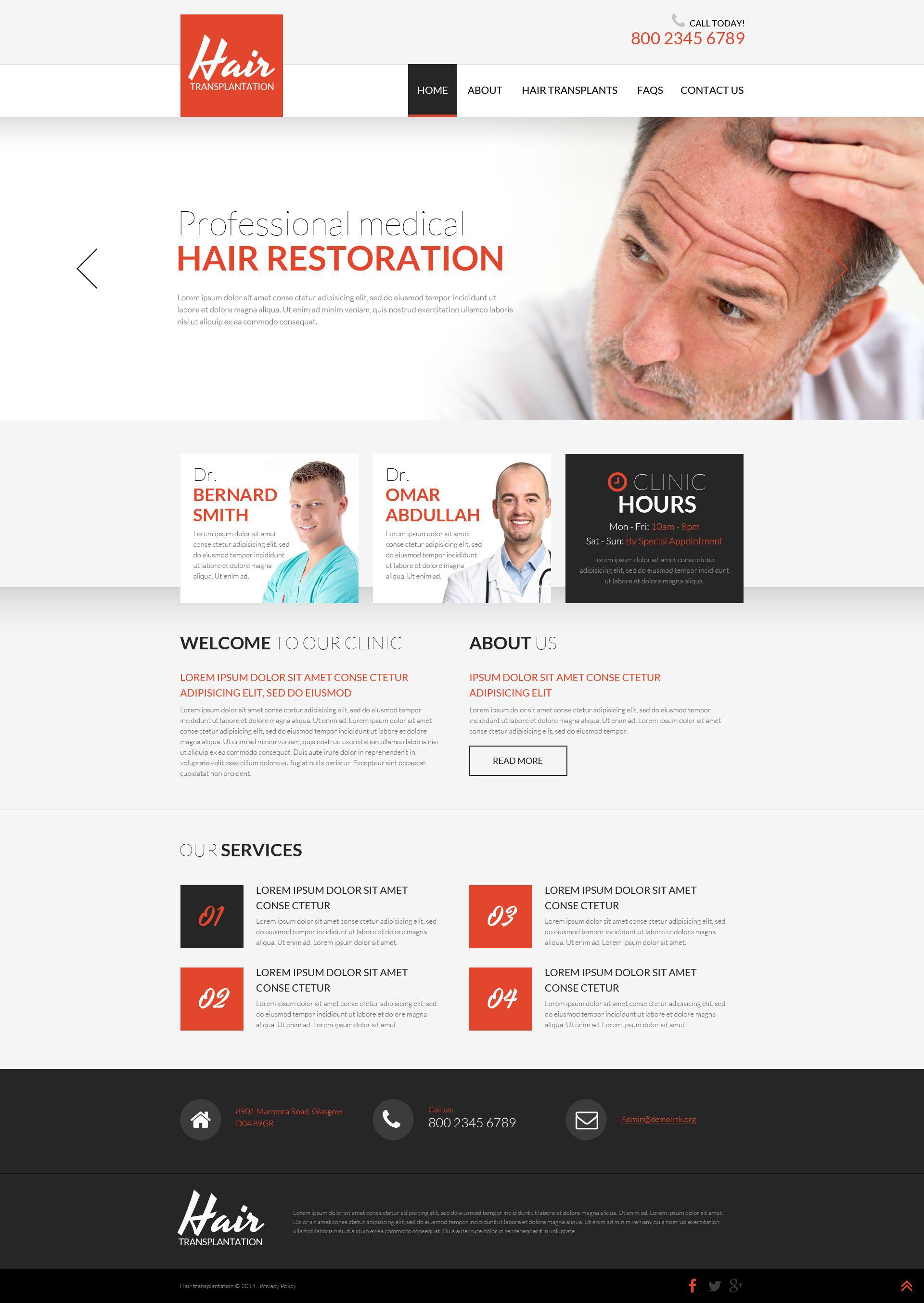 Hair Clinic Website Templates