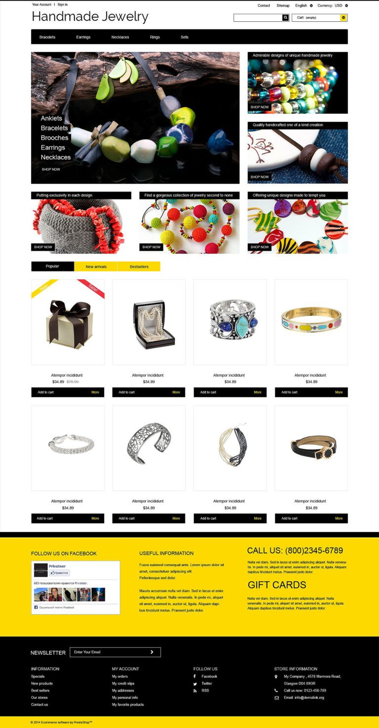 Handmade Ornaments PrestaShop Theme New Screenshots BIG