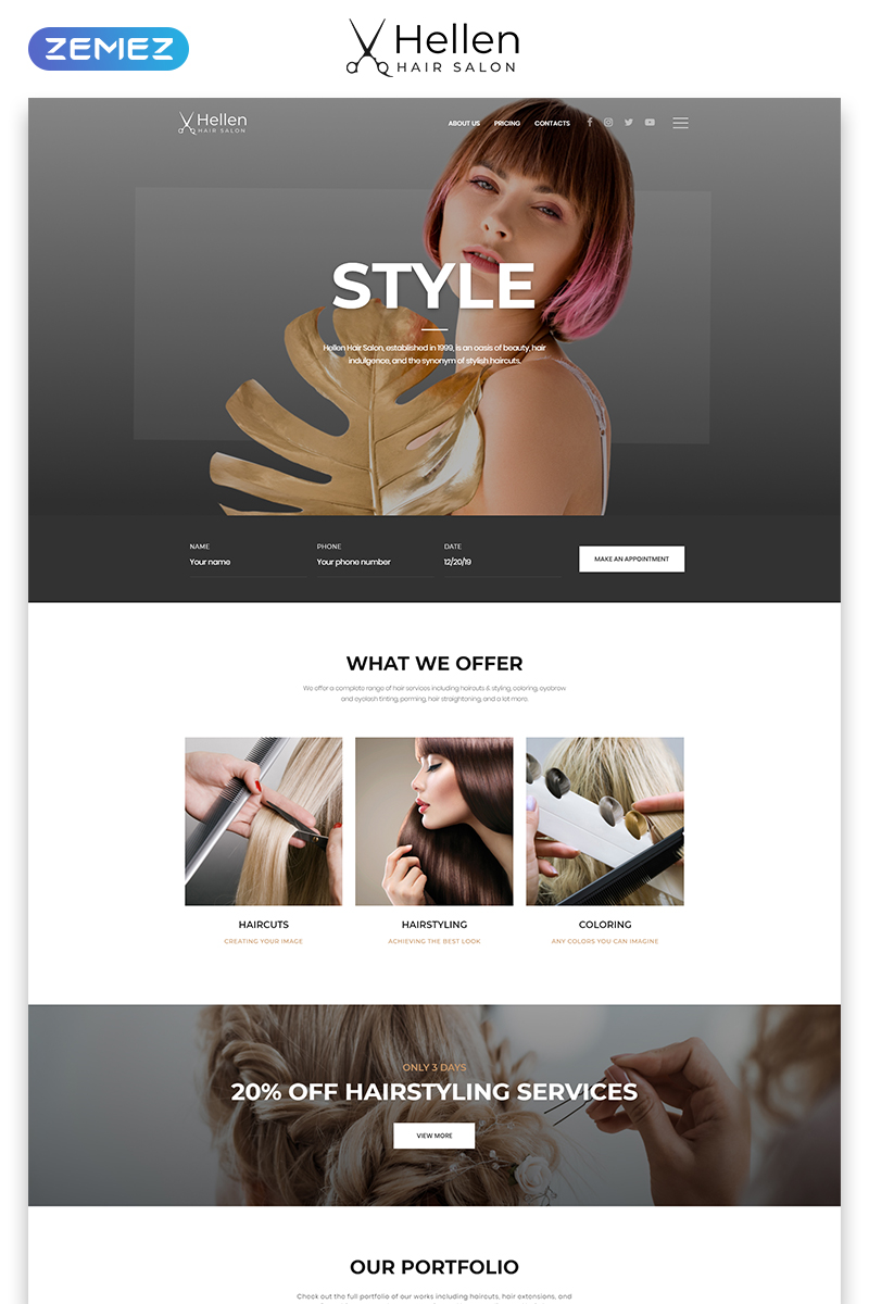 Hellen - Hair Salon Classic Multipage HTML5 №52290
