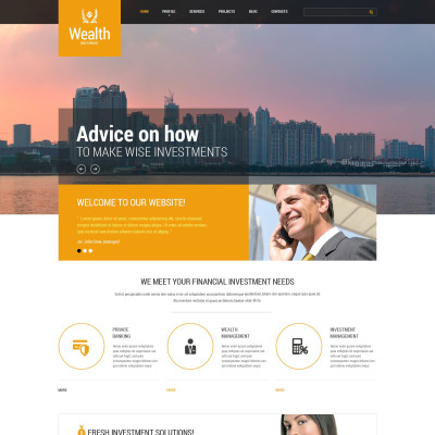 Investment Company Responsive Website Template - Real estate investor website templates