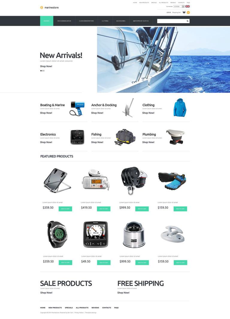 Marine Store ZenCart Template New Screenshots BIG