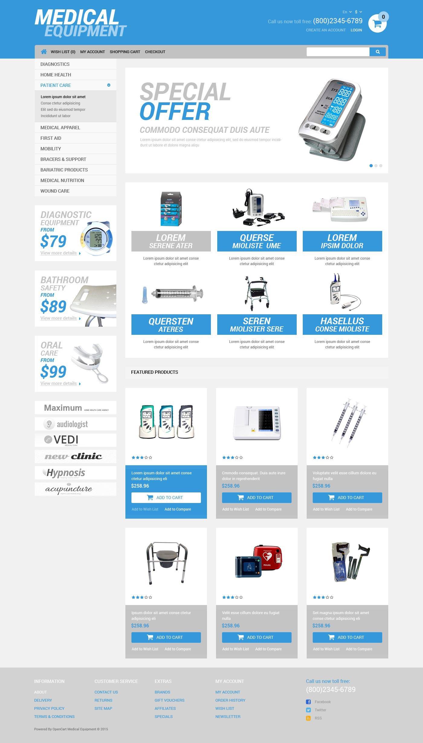 medical equipment store opencart theme