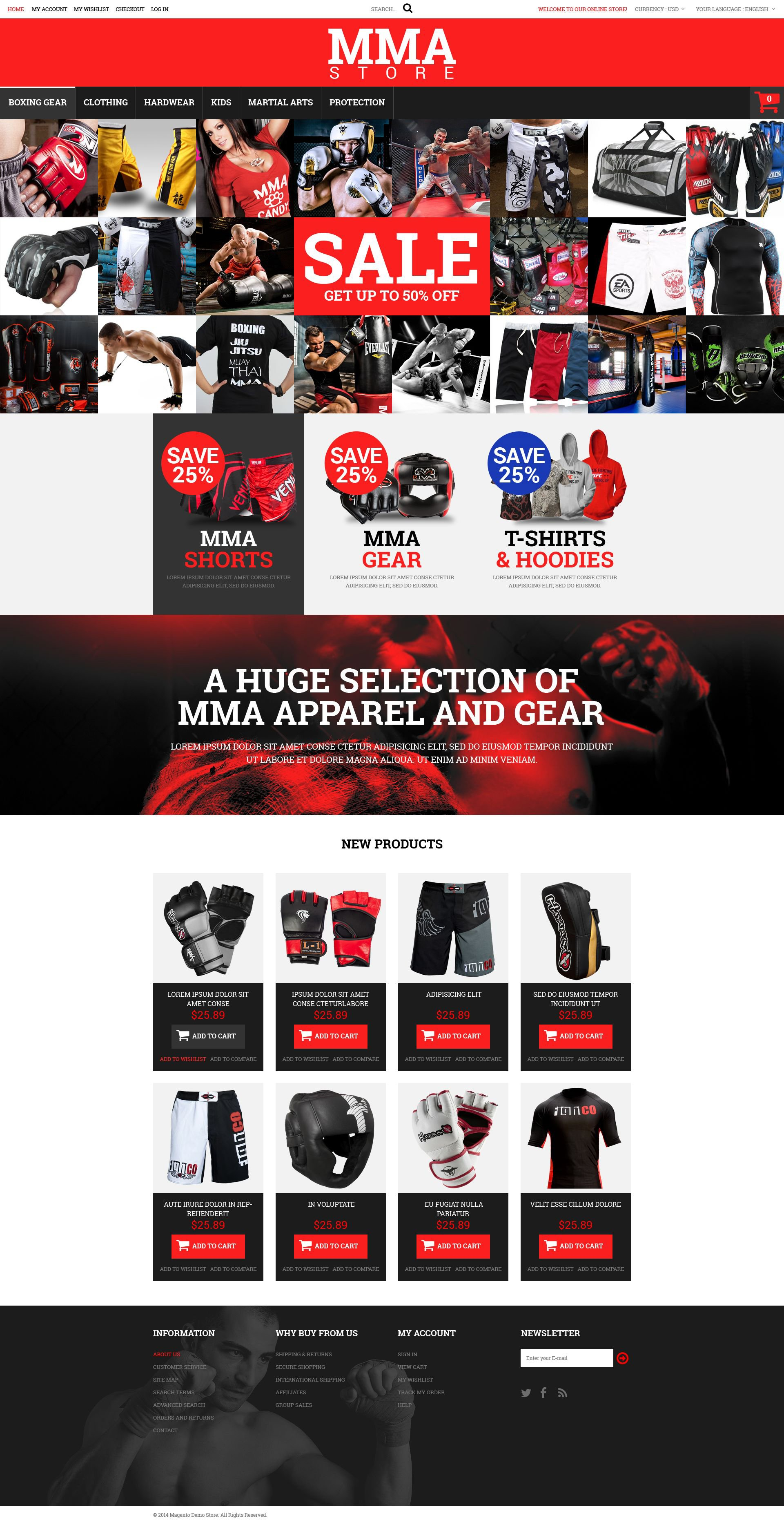 MMA Clothes and Gear Magento Theme