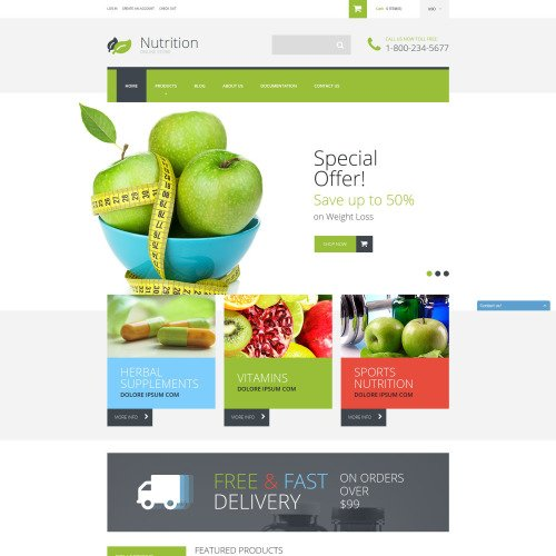 Nutrition - Shopify Template based on Bootstrap