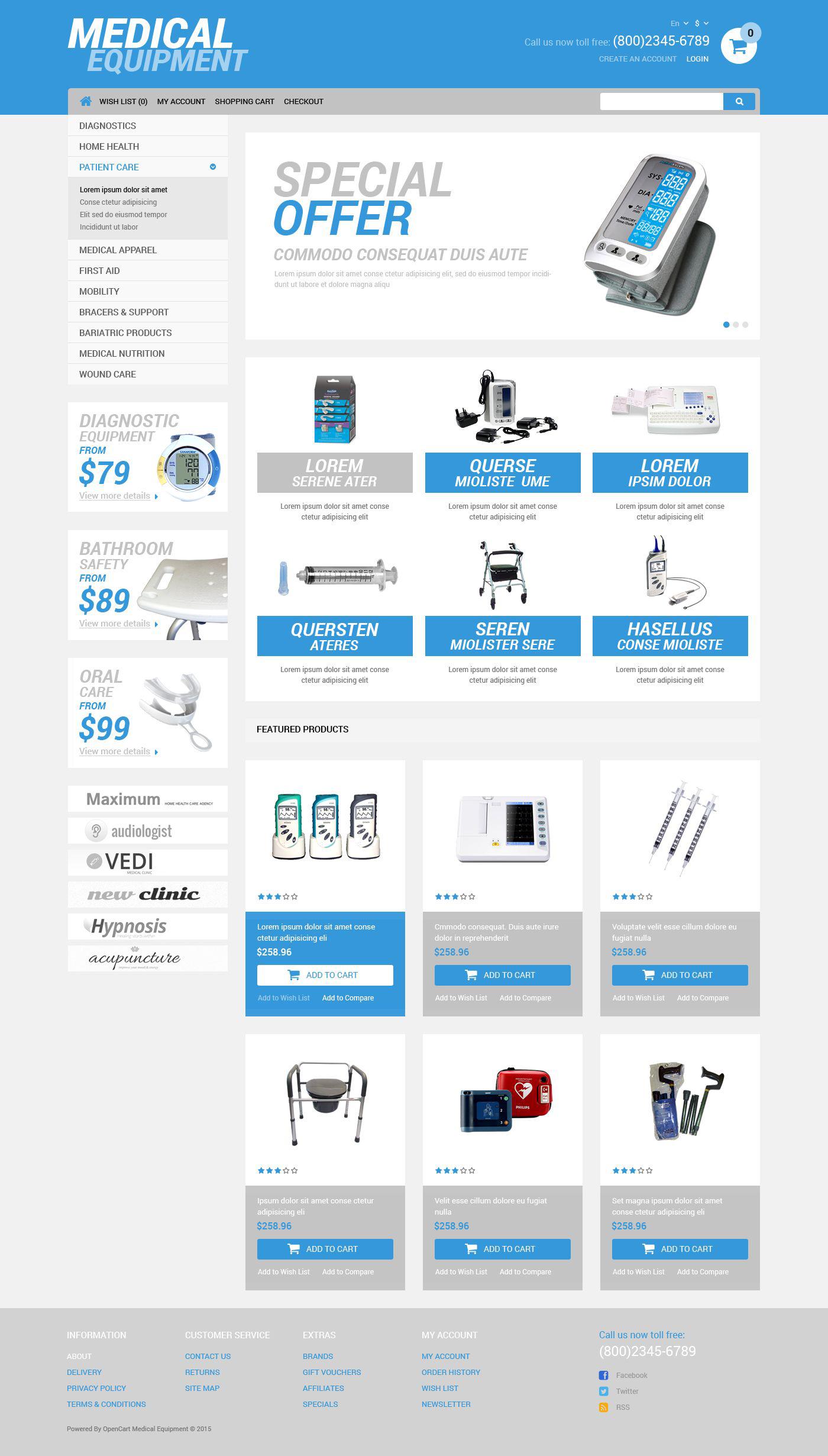 Plantilla OpenCart #52261 para Sitio de Equipos médicos