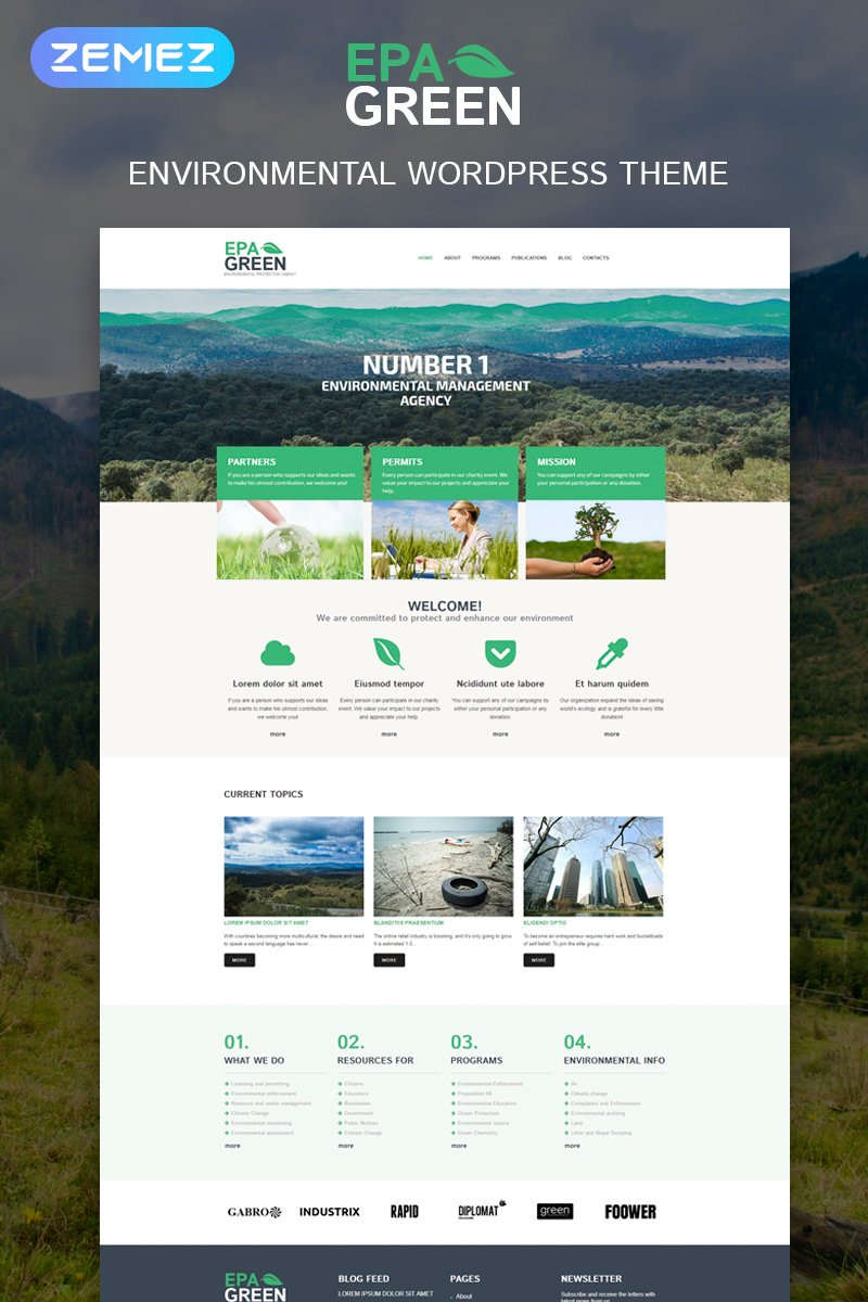 Responsywny motyw WordPress Environmental Responsive #52293