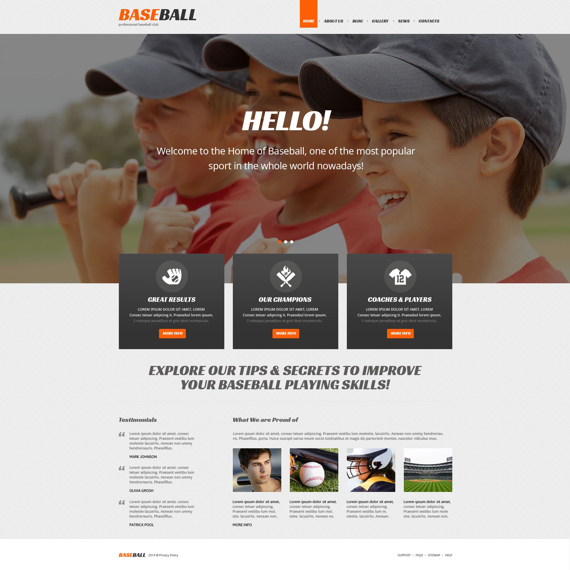 Reszponzív Baseball témakörű WordPress sablon 52269