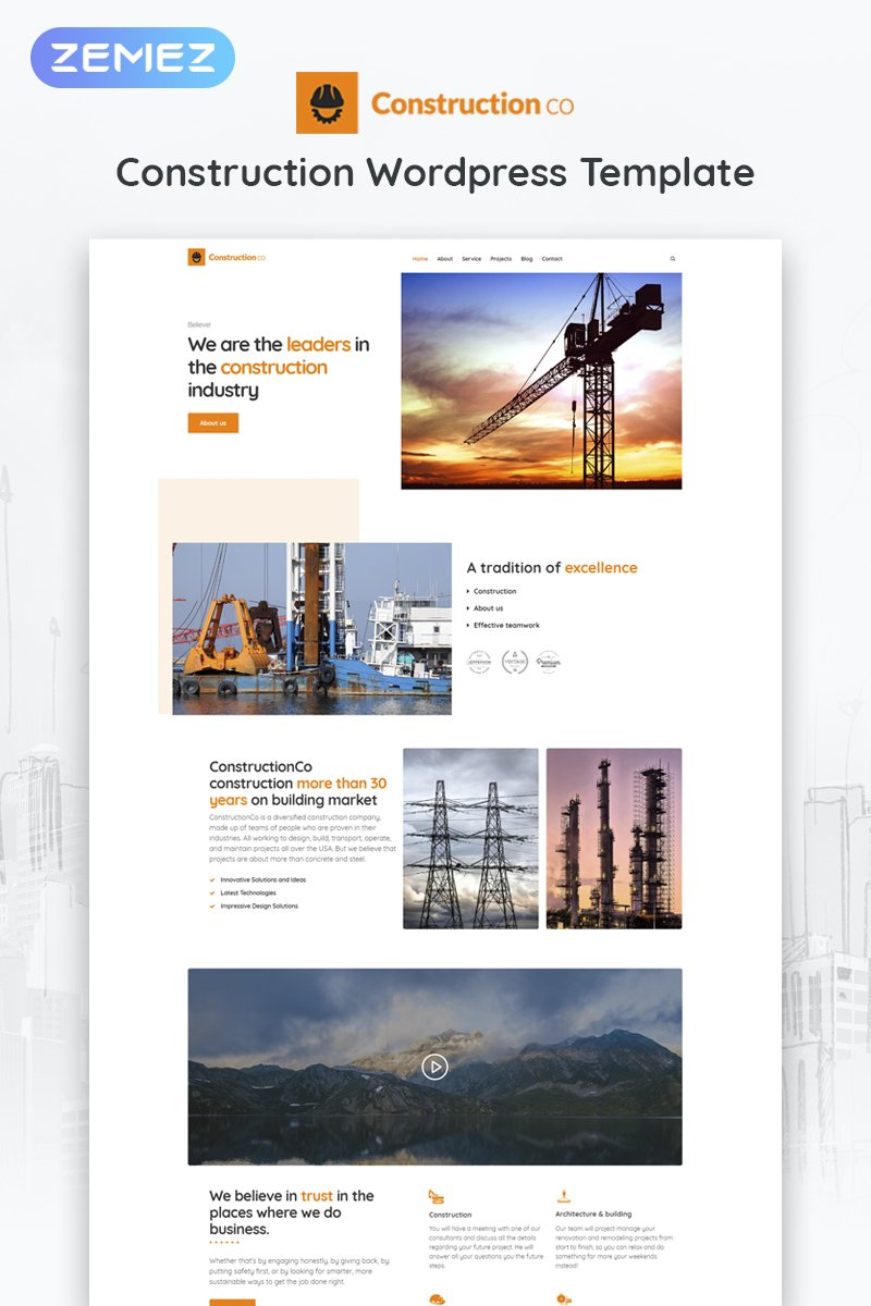 Reszponzív Construction Business WordPress sablon 52266 - képernyőkép