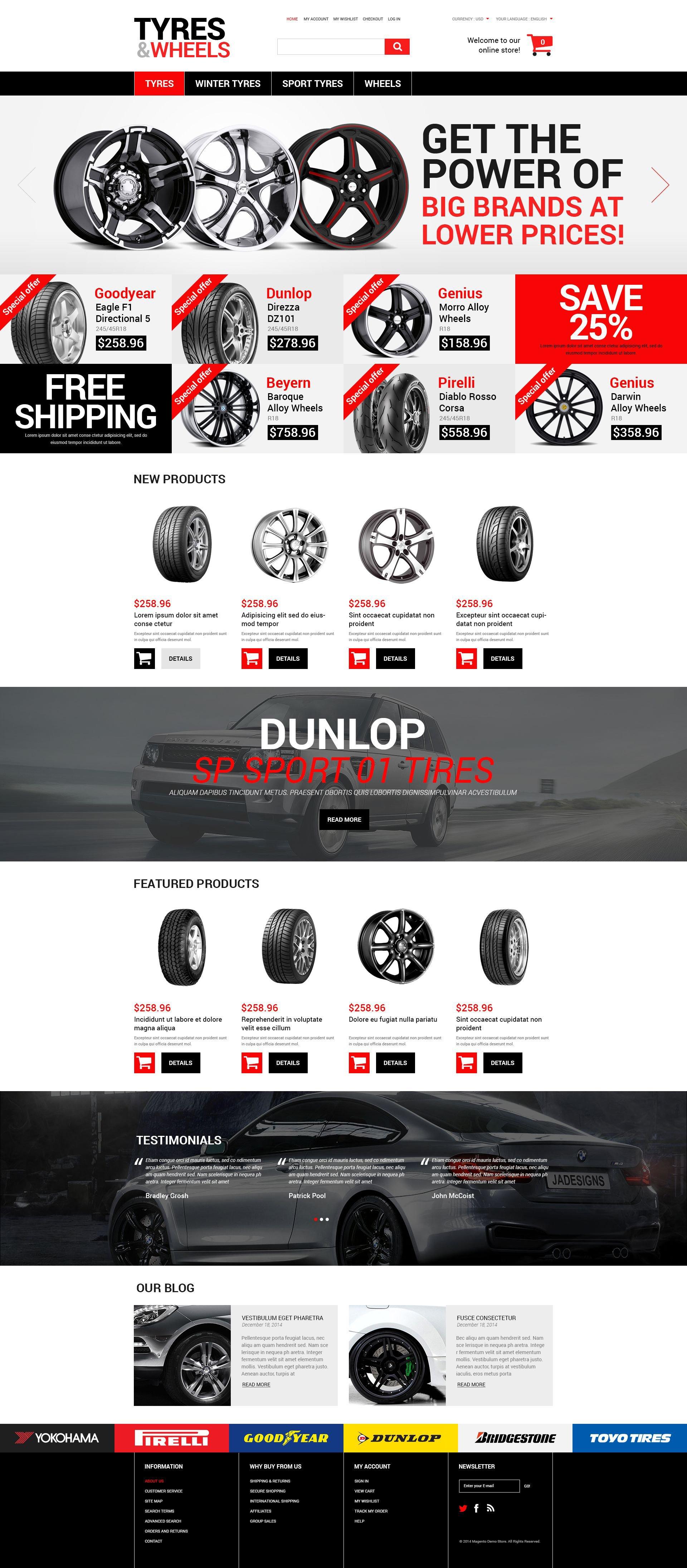 Reszponzív Wheels and Tyres Magento sablon 52241