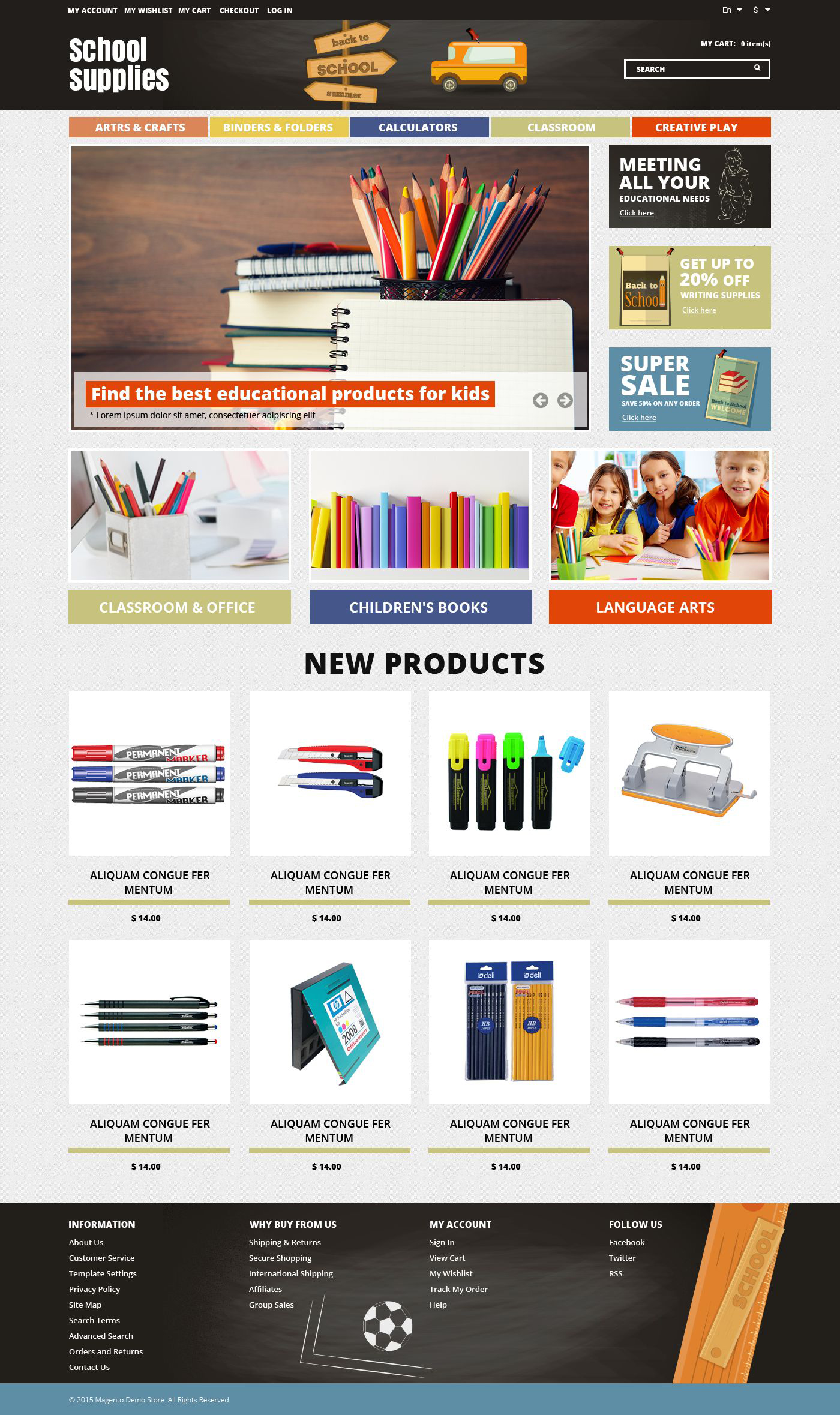 School Essentials Magento Theme - screenshot