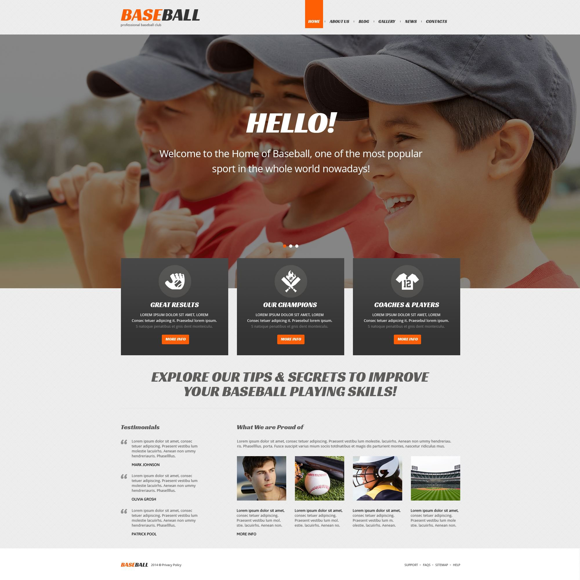 Tema WordPress Flexível para Sites de Basebol №52269