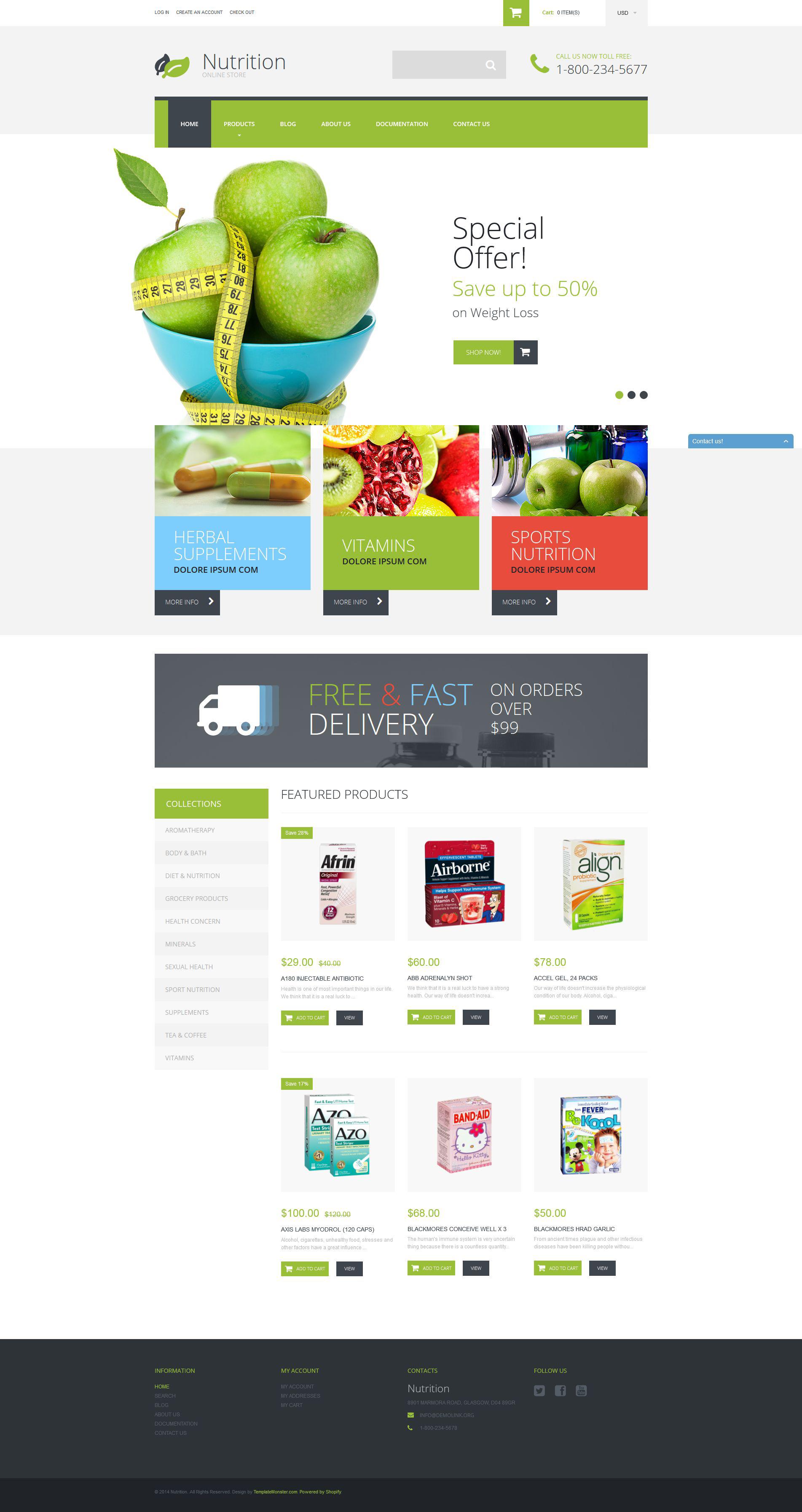 """Template Shopify Responsive #52255 """"Negozio di Integratori Alimentari"""""""