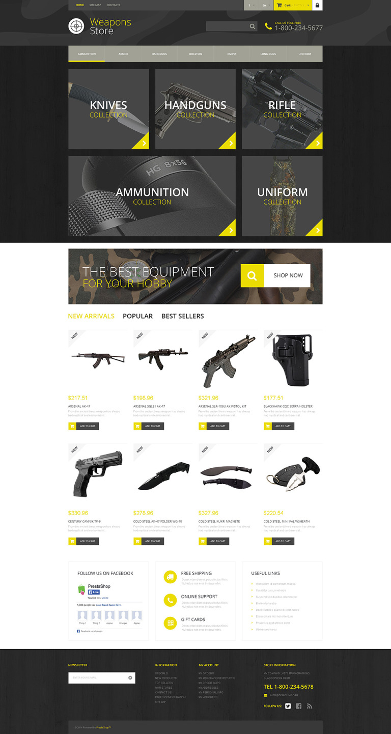 Weapon Shop PrestaShop Theme New Screenshots BIG