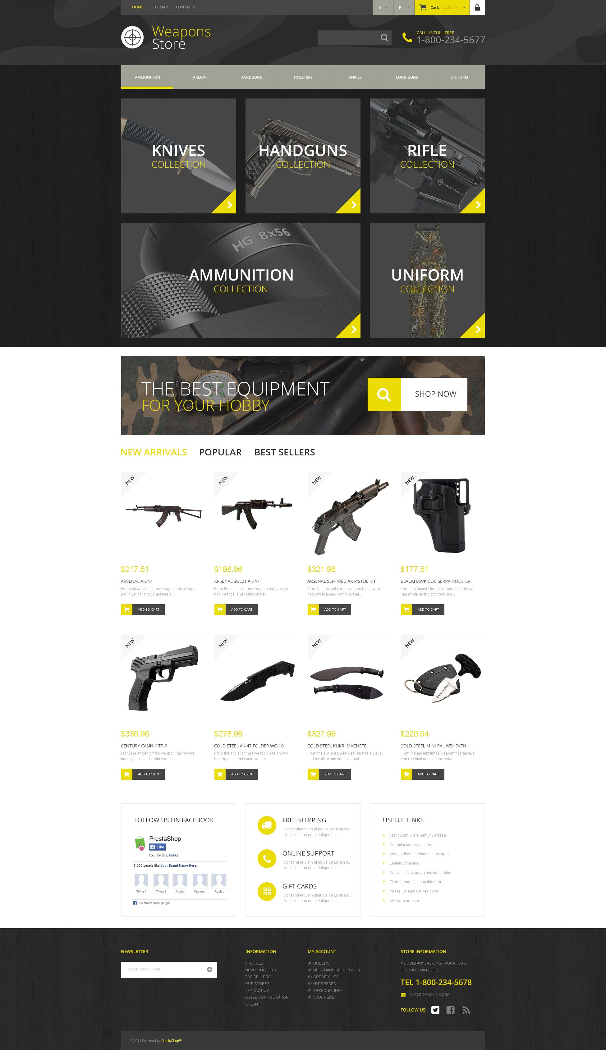 Weapon Shop PrestaShop Theme