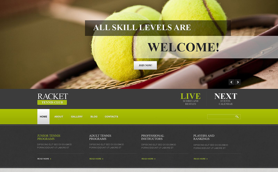 Reszponzív Tenisz Joomla sablon New Screenshots BIG