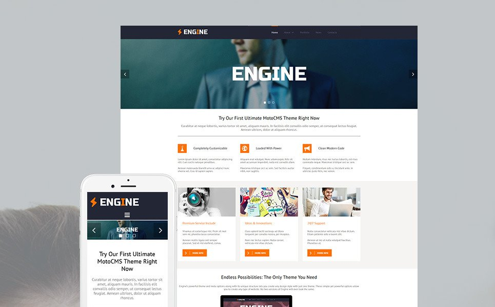 Responsive Moto CMS 3 Template over Business & Diensten New Screenshots BIG