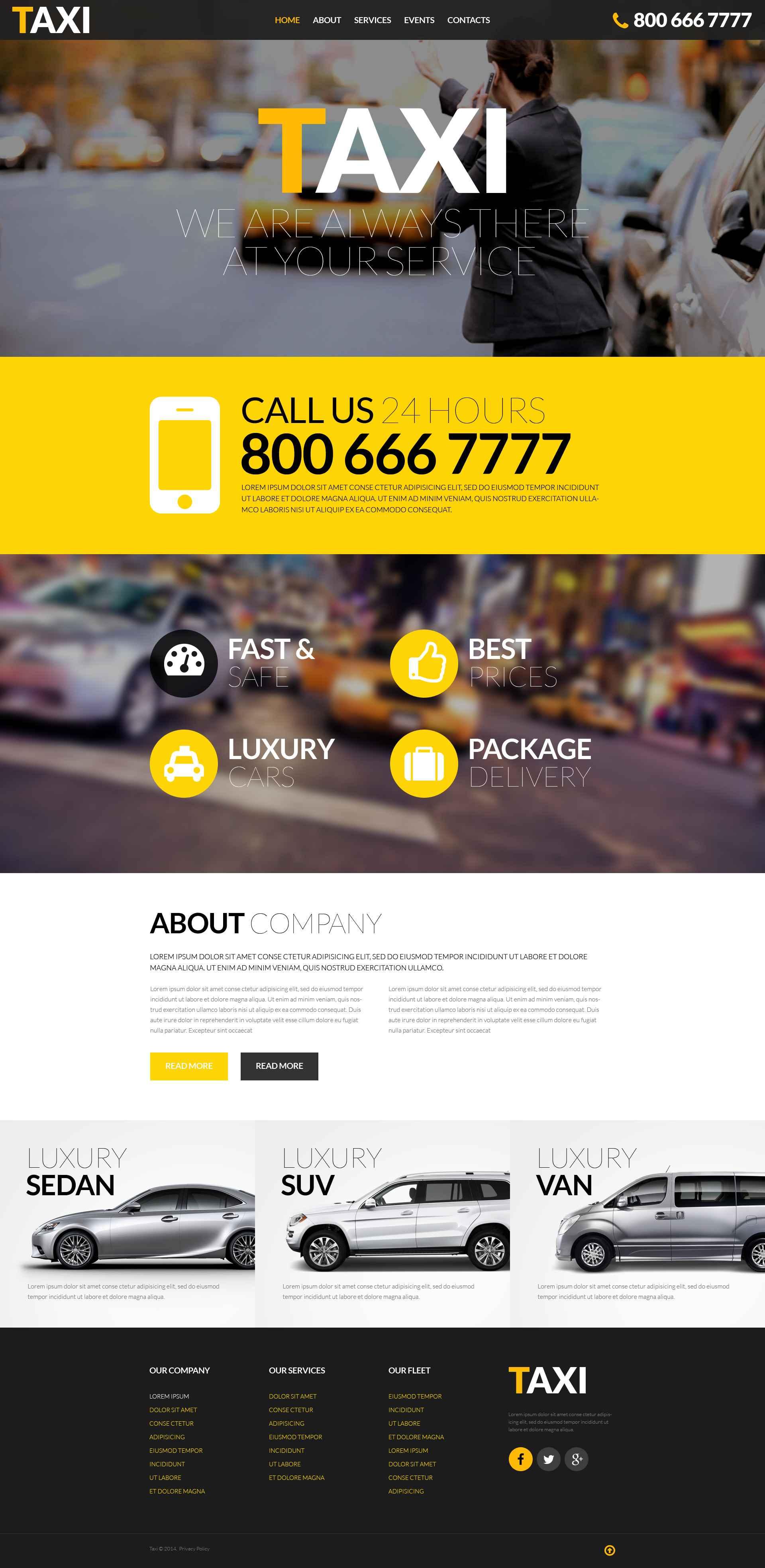 Адаптивний Шаблон сайту на тему таксі №52390 - скріншот