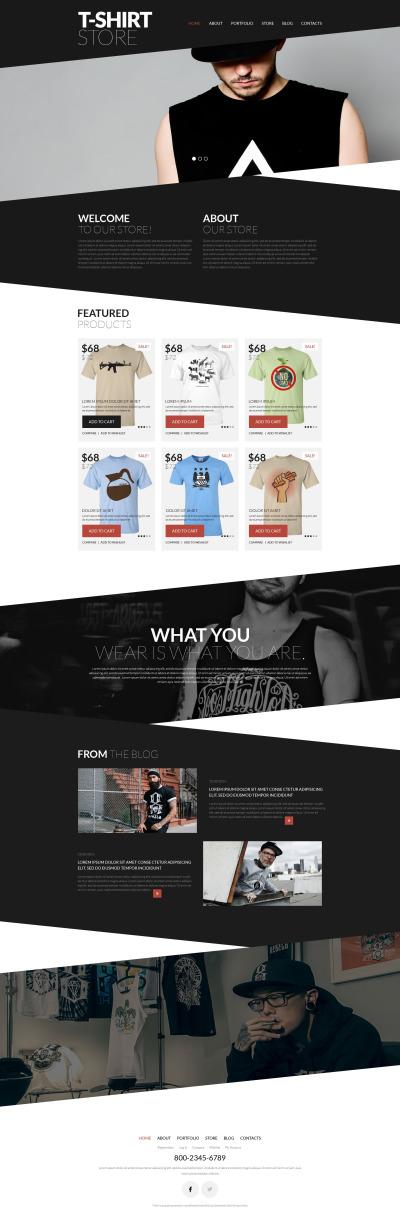 Адаптивный WooCommerce шаблон №52383 на тему магазин футболок #52383