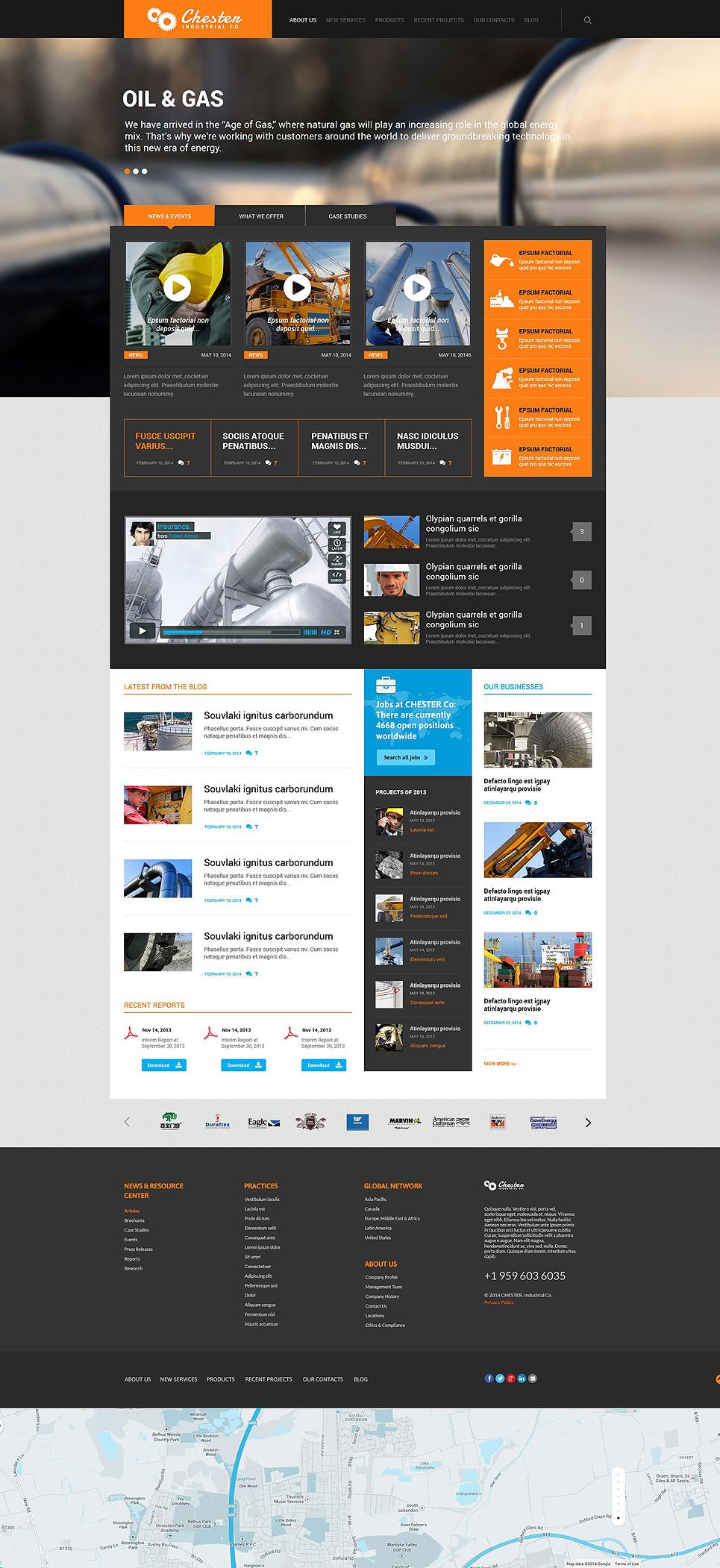 Адаптивный шаблон сайта на тему промышленность #52370