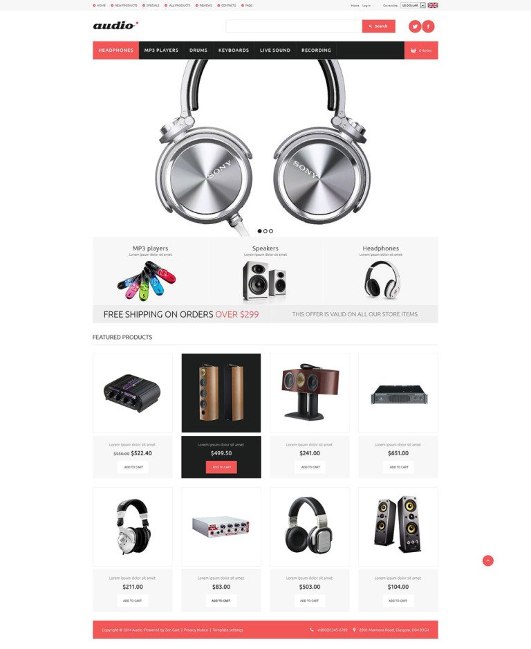 Audio Gear ZenCart Template New Screenshots BIG