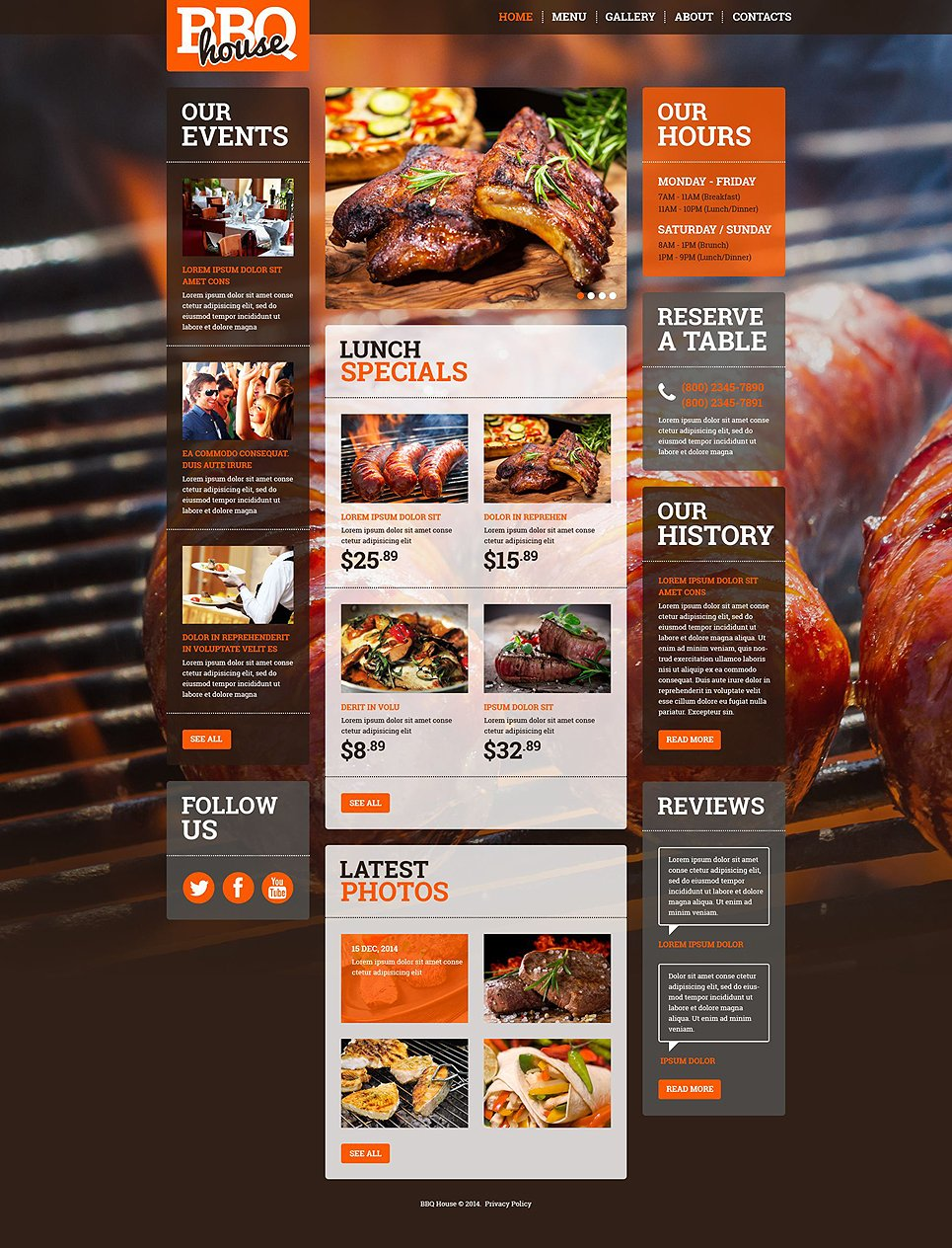 bbq restaurant responsive website template 52378. Black Bedroom Furniture Sets. Home Design Ideas