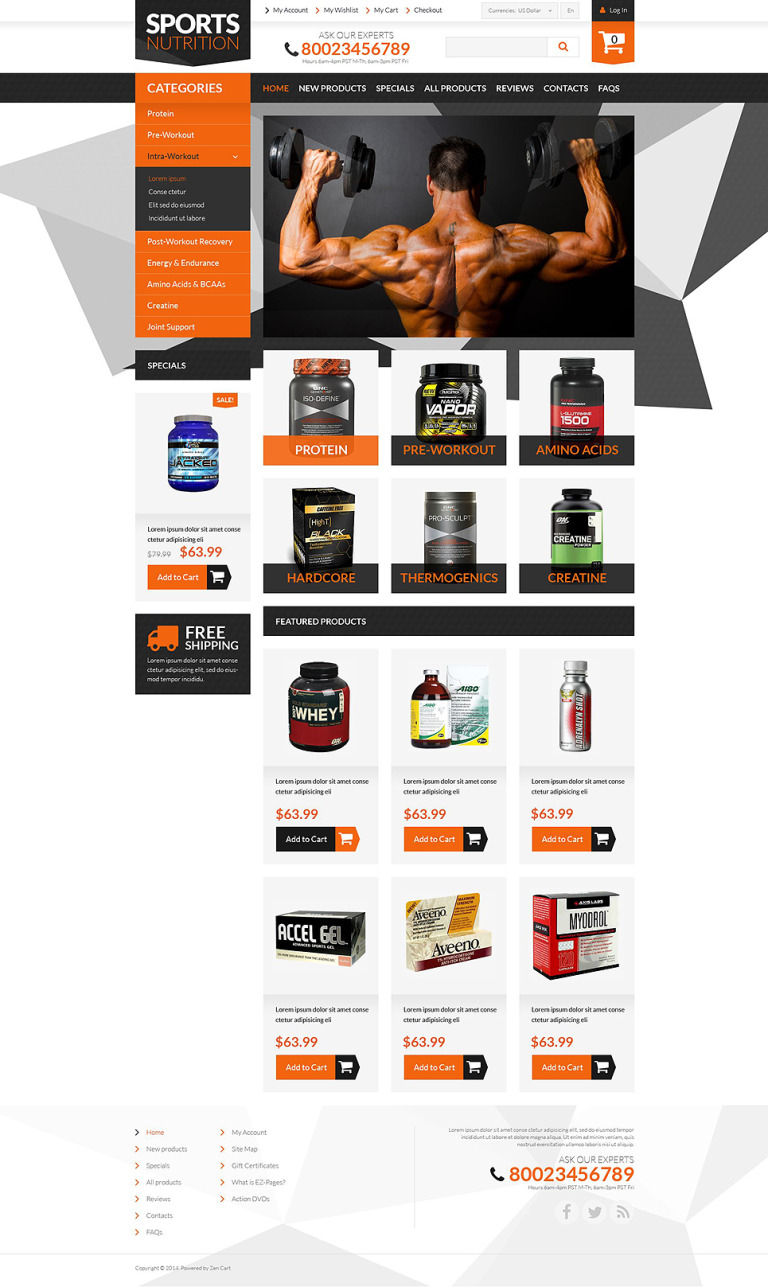 Bodybuilding Supplements ZenCart Template New Screenshots BIG