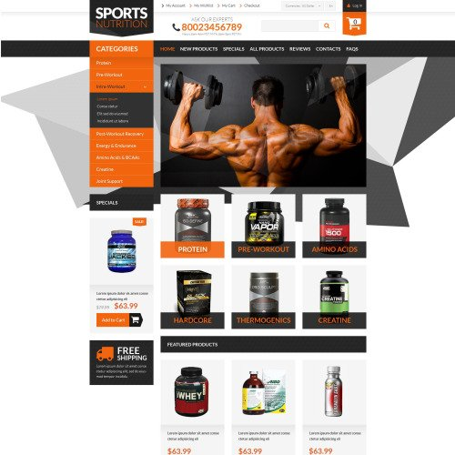 Sports Nutrition - HTML5 ZenCart Template