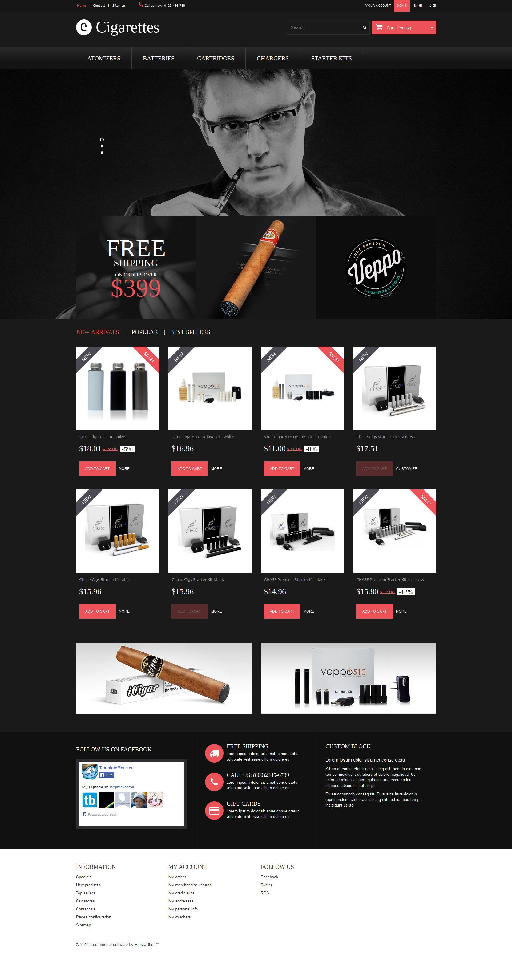 """""""Cigares"""" thème PrestaShop adaptatif #52326"""