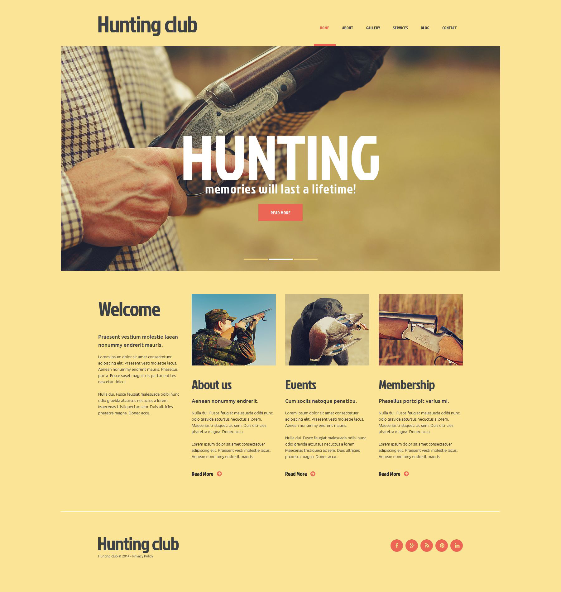Club of Experienced Hunters Joomla Template - screenshot