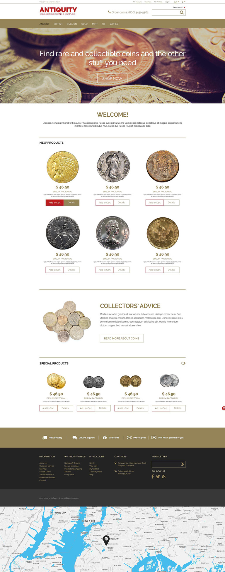 Collectible Coins Magento Theme New Screenshots BIG