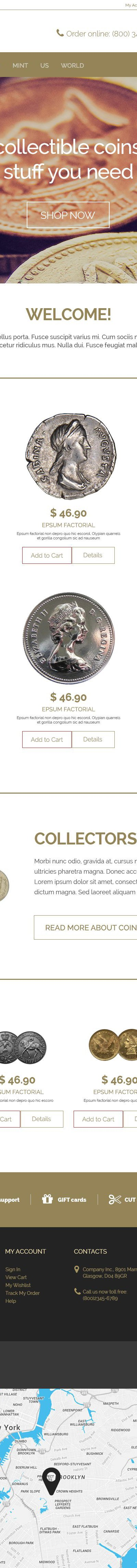 Collectible Coins Magento Theme