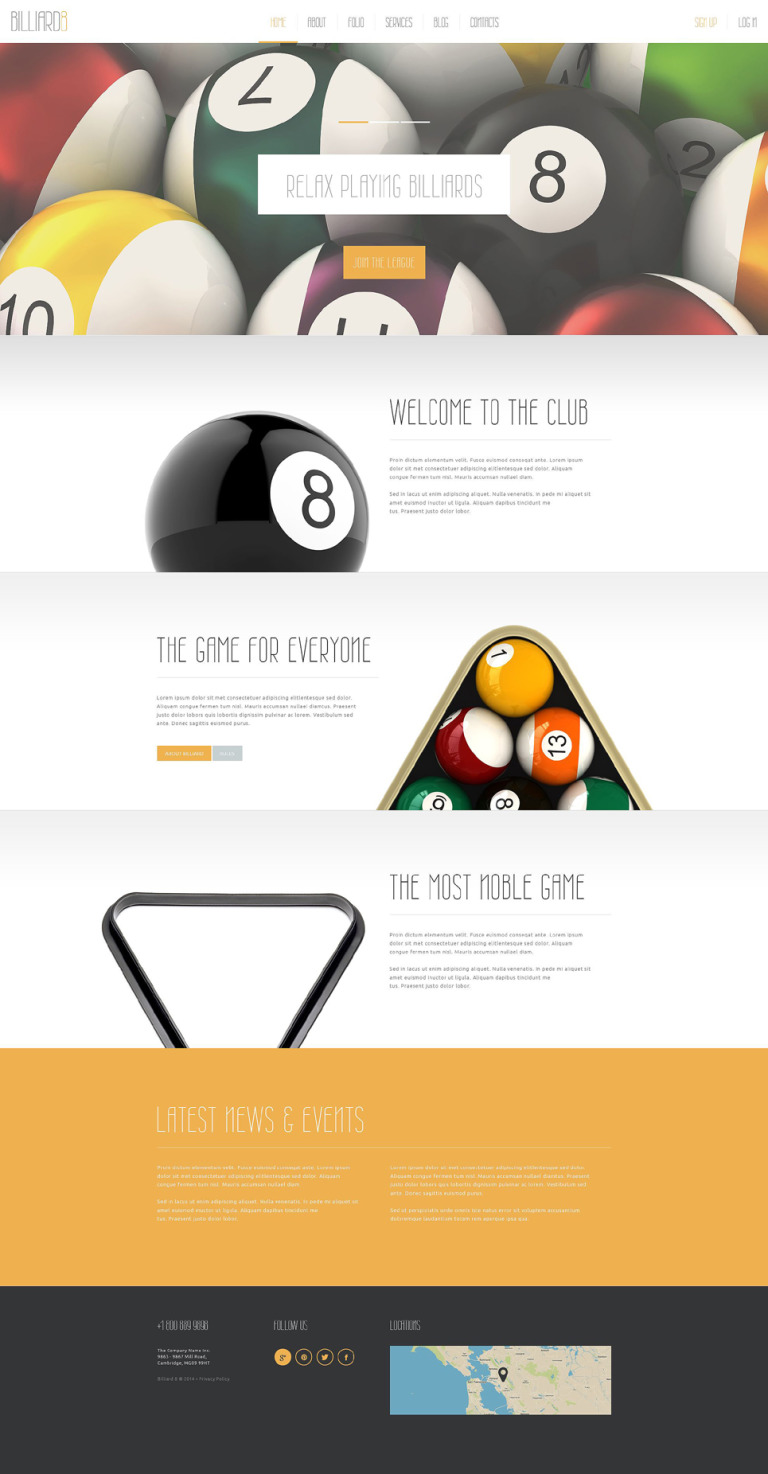 Comfortable Billiard Club Joomla Template New Screenshots BIG