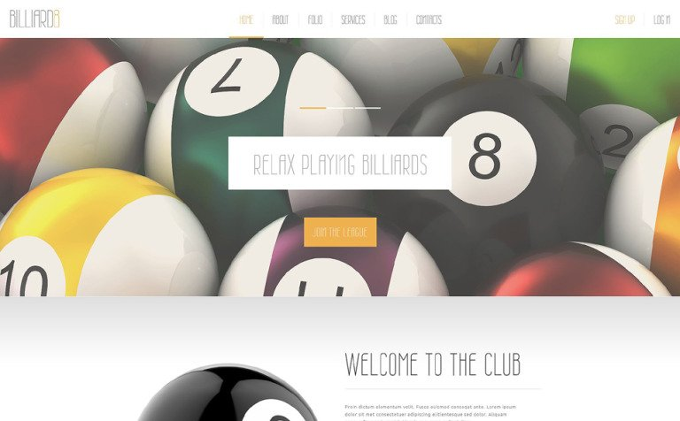 Comfortable Billiard Club Joomla Template