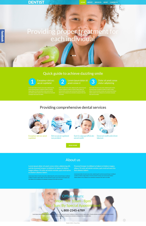 """Dental Clinic"" 响应式WordPress模板 #52373 - 截图"