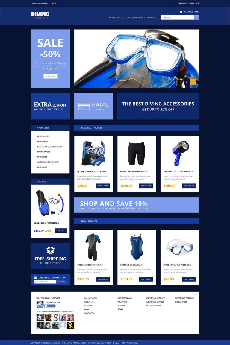 Diving Accessories VirtueMart Template New Screenshots BIG