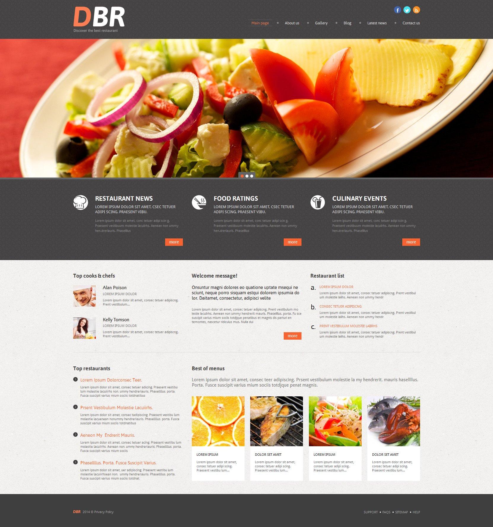 European Restaurant Responsive WordPress Theme - screenshot